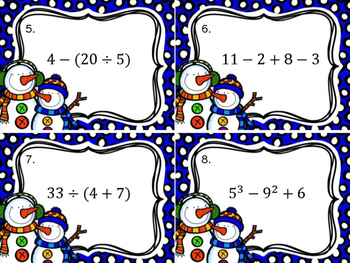 Winter Themed Order of Operations Cards