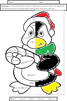 Order of Operations: Penguin Coloring Sheet