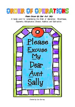 Order of Operations - Please Excuse My Dear Aunt Sally Card