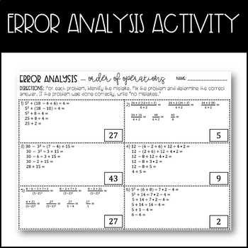 Order of Operations (Positive Numbers Only) - Partner Pair/Error Analysis