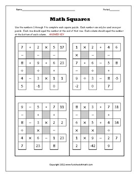 Order of Operations Challenge Activity Math Squares