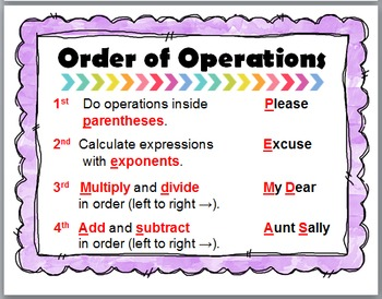 Order of Operations Poster and Interactive Flap Books ~ PEMDAS