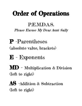 Order of Operations Poster