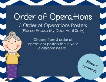 Order of Operations Posters - Blue Chevron
