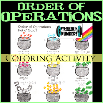 Order of Operations Pot of Gold St. Patrick's Day Coloring Activity