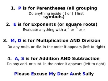 Order of Operations PowerPoint Notes