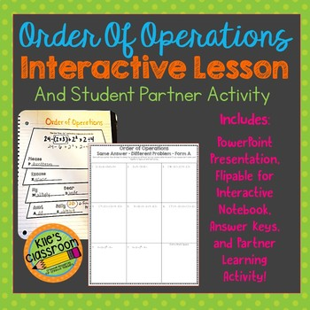 Order of Operations  - PowerPoint, Interactive Notebook, and Partner activity