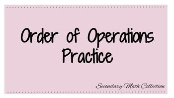 Order of Operations Practice Worksheet