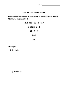 Order of Operations Practice