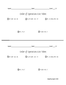 Order of Operations Practice & Exit Ticket
