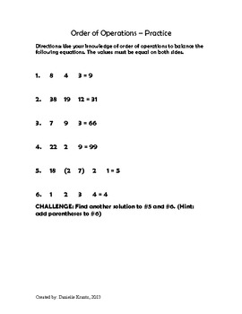 Order of Operations Practice (Fill in the Operation)