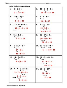 Order of Operations Practice Worksheet III