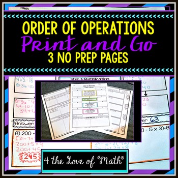 Order of Operations Print and Go