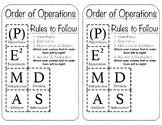 Order of Operations Printable Reference Resource