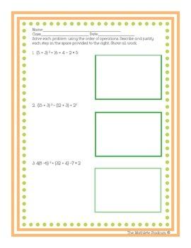 Order of Operations Printable Worksheet