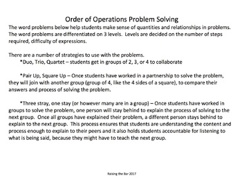 Order Of Operations Problems Worksheets & Teaching Resources