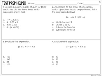 Order of Operations Problems {Common Core Test Prep Helper}