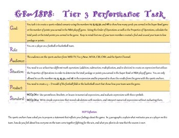 Order of Operations & Properties of Operations Performance Task