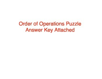 Order of Operations Puzzle (5.OA.1)