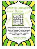 Order of Operations Puzzle - Common Core