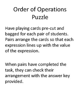 Order of Operations Puzzle Gr 5