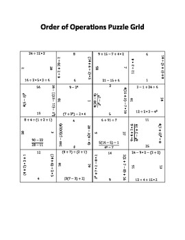 Order of Operations Puzzle Grid