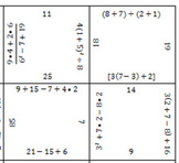 Order of Operations Puzzle Grid - Answer Key