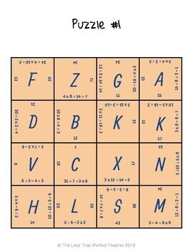 Order of Operations Puzzles - FREEBIE!