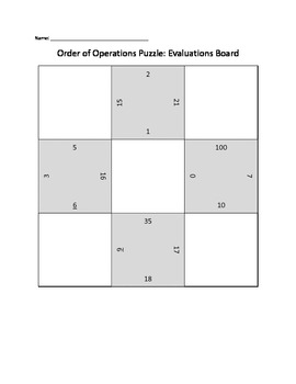 Order of Operations Puzzles (Grid Match)