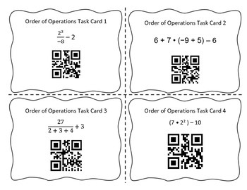 Order of Operations QR Code Self Check Task Cards