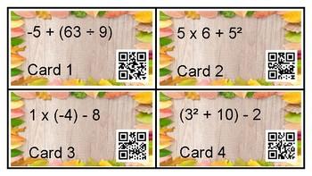 Order of Operations QR Code Task Cards (Negative integers)