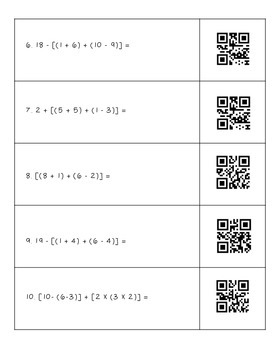 Order of Operations QR Code Worksheets Common Core Standard 5.OA.1