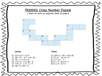 Order of Operations QR Task Cards and Cross Number Puzzle