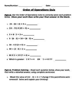 Order of Operations Quiz