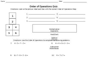 Order of Operations Quiz - Addition, Subtraction, Multiplication