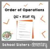 Order of Operations Quiz  & Answer Key