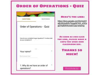 Order of Operations Quiz - Google Form