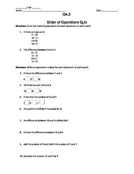 Order of Operations Quiz OA.2