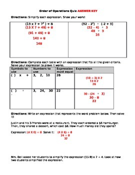 Order of Operations Quiz - Parentheses & Exponents