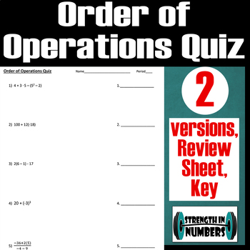 Order of Operations Quiz/Test- 2 versions + Review Sheet + key