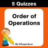 Order of Operations Quiz - Test - Assessment - Worksheets