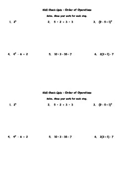 Order of Operations Quiz and Retake with Answer Keys Common Core