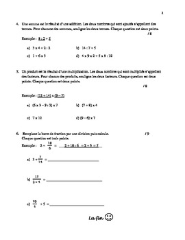 Math Quiz : Enchaînement d'opérations - Order of Operations in French