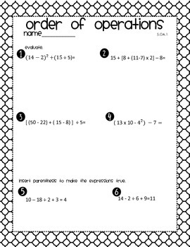 Order of Operations Quiz/Homework