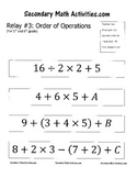Order of Operations RELAY #3 - 5th and 6th Grade Math