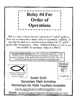 Order of Operations RELAY #4 - 5th and 6th Grade Math
