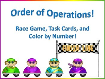 Order of Operations - Race Game, Task Cards, Color by Number Bundle