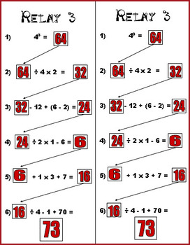 Order of Operations - Relay Game