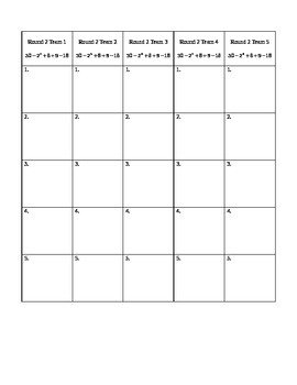Order of Operations Relay Word version