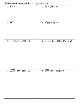 Order of Operations & Replacement Notes